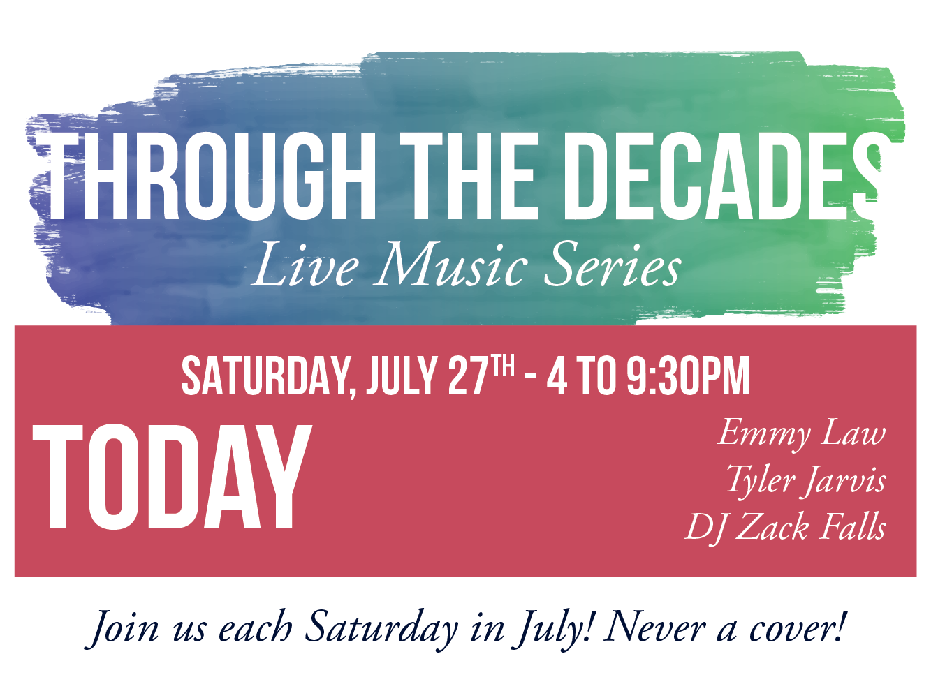 Through The Decades - Live Music Series | Tucker Brewing Company